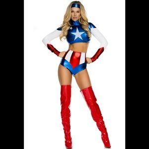 Forplay Captain America Metallic Shorts Costume